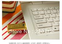 Metal Gold bar USB 2.0 Flash Memory Pen Drive Drives Sticks Disks 64GB Pendrives Thumb