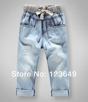Free shipping in the fall of 2014 letter pants pocket baby boy clothes children jeans kz - 2118