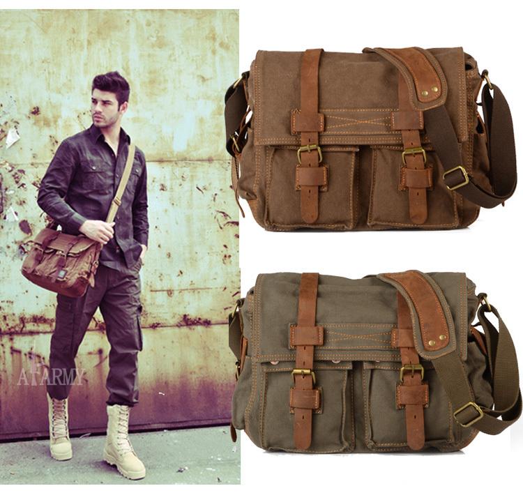 Men's Vintage Canvas Leather School Military Shoulder Bag Messenger Sling Crossbody Bag Satchel 1099(China (Mainland))