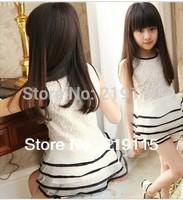 2013 Summer new girls' suits, sleeveless dresses Children skirt suit two-piece white princess dress lace skirt + shorts