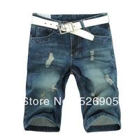 Free Shipping Designer Brand Man jeans shorts pants Ripped jeans men Korean Style Cotton Denim Trousers 2013 Summer short jeans