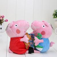"2pcs  6"" Cute Peppa Pig With Teddy Bear George Pig Plush Doll Toy"