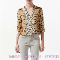 CHIC SEXY LONG SLEEVE V-NECK TIGER PRINT SHIRT BLOUSE TOP stripes shirt 3297jh HOt