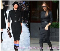 Stand-Up Collar 3/4 Sleeve Slim Fit Belted Pencil Dress With Epaulettes MIid-calf Dress 3726jh Hot