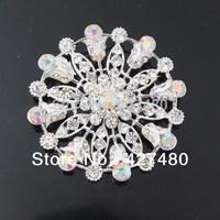 Latast designer flower shaped brooch pin Nice Silver Plated Brooch Pins Rhinestone Crystal Pin Brooch