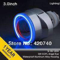 "3GQO 3.0"" inch Xenon Lens Angel eyes HID Bixenon projector lens Kit CCFL H4 H7 4300K 5000K 6000K 8000K + 2pcs 35W Slim Ballasts"