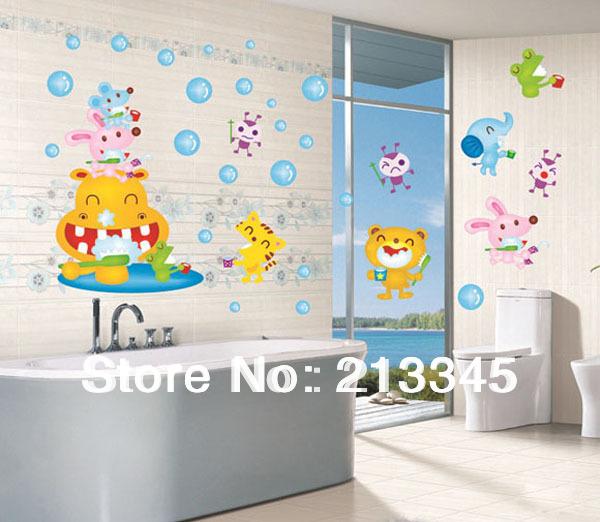 [Saturday Mall] - kid dental health cartoon animals brushing wall stickers bathroom mirror waterproof decal decor 6032(China (Mainland))