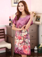 2013 New Arrival Fashion Short Dress,Women Long Skirt Printed,New Design Purple Short Sleeves Graceful Silk Dress For Ladies