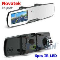 "Car camera 2.7"" LCD+6 IR Night vision+FHD1080P+G-sensor+Novatek chipset+Motion Detection car video rearview interior mirror DVR"