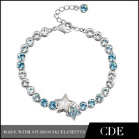 CDE 2013 Fashion Stars Shape and Black Round Crystal Bangle Made With Swarovski Element B0042A