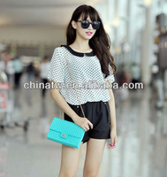 zd04116 New Arrival! Korean Design Polka Dot Chiffon Lady Blouse Free Shipping