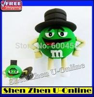 Full Real Capacity Cartoon Green M-Beans Real 4GB 8GB 16GB 32GB 64GB USB Flash Drive Memory Stick Drive pen drive,free shipping