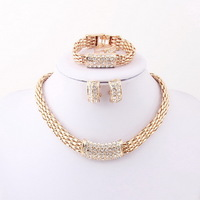 New Design Fashion African Dubai Wedding Bridal Costume Necklace Sets Top Sale Gold Plated Women Party Jewelry Sets