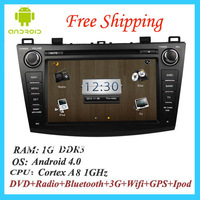Free Shipping! Android 4.0 CPU 1Ghz RAM 1G DDR3 2012 Mazda 3 Car dvd player GPS Navigation with 3G WIFi