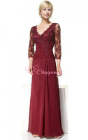 New woman vintage lace mother of the bride dresses Floor-length V-neck