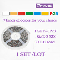 Free Shipping HOT (1 pcs/lot ) 300LED /  REEL 5m 3528 led smd rgb strip non-waterproof IP20 led strip rgb double layer 10*0.26mm