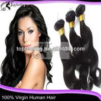 Top feeling 16'' natural color body wave 100% brazilian virgin human hair weave