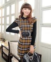 Free Shipping 2014 Autumn Women's Plaid Faux Two Piece One-Piece Dress Belt 1085