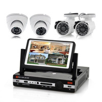 "700TVL CMOS 4ch Kit CCTV 4CH full D1DVR Day Night Waterproof Security Camera Surveillance +7"" LCD Monitor"