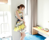 Summer new bohemian romantic floral lace collar pleated dress with belt