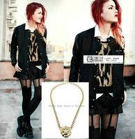 2013 Fashion Rihanna Celebrity Jewelry Gold Tone Metal Lion Head Chunky Chain Necklace wholesale