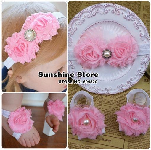 Sunshine store #2B1996 10 set/lot (2 colors) newborn baby headband barefoot sandal set Chiffon Shabby flower diamond/pearl CPAM(China (Mainland))