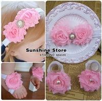 Sunshine store #2B1996  10 set/lot (2 colors) newborn baby headband barefoot sandal set Chiffon Shabby flower diamond/pearl CPAM