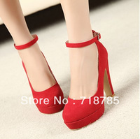 BEAUTIFUL !! Red Wedding Shoes Vintage High-heeled Shoes Thick Heel Platform Shoe Female Lacing Velvet Bridal Shoes Blue Black