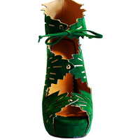 new style fashion high  heel  13cm  Leaf  style Lace  green women shioes  platform   party  ladies shoes