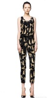 Euro Style Cheetah Printed Round Neck Jumpsuit Black