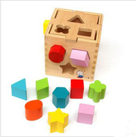 Free Shipping!! Box Shape Wooden Building Blocks Educatonal Baby Toys Intellectual box Toy for 2-4 years