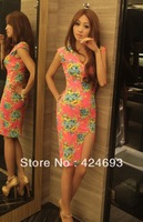 2013 Novelty Sexy Fashion Flower Ladies Summer Sheath Mini Dress For Party