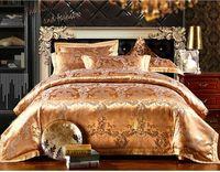 Noble silk/cotton jacquard bedding set king size gold duvet cover set queen hot sale bed set