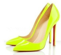 2013 fashion pointed toe pigalle pumps sexy red bottoms sole womens high heels shoes size 35-40 blue black nude neon yellow