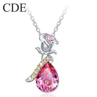 Free Shipping CDE Weeding Jewelry  Big Crystal Flower Pendant Silver Necklace P0319