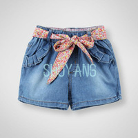 Retail Gerat Quality New 2014 Summer Girl's Demin Shorts Children's Pants Kid's Jeans Shorts With Flower Belt for 3-10T