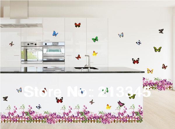 Samedi mall violet fleur papillon plinthes de d coration autocollant pv - Carreaux autocollants cuisine ...