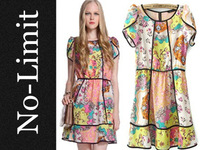 New fashion 2013 summer brand o-neck retro dresses for Women chiffon vintage flower print vestidos free shipping