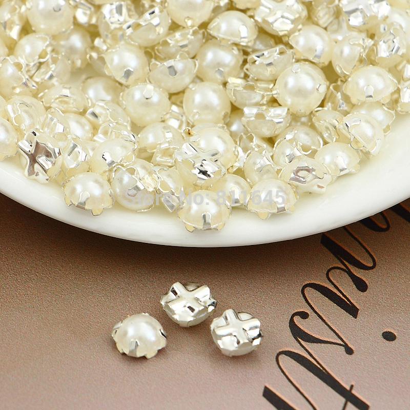 Ss25( 5mm) 720pcs/lot versilberung elfenbeinfarben perlen, nähen auf pearl spacer perlen kleidungsstück schmuck