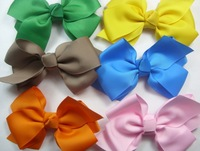 Fashion korean grosgrain ribbon hair bows in different colors