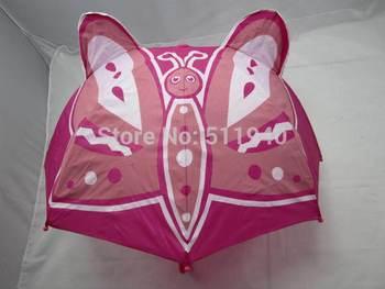 1 piece lovely red color butterfly cartoon children umbrella girl boy long-handle umbrella