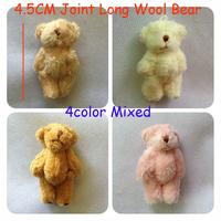 Free Shipping 100pcs/lot 4.5cm Cartoon Long Plush Mini Joint Bear Bare Teddy Bear For Key/Phone/Bag Plush Dolls