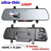 Car rearview mirror camera DVR X11 with HDMI+H.264+IR nigth vision+G-sensor+Novatek chip Ultra-thin design car back mirror DVR