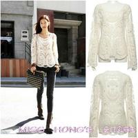 Women's Lace Beige Retro Floral Knit Top Long Sleeve Crochet T Shirt WF-3811jh HOT