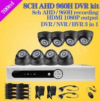 home cctv surveillance 8ch 960h AHD dvr video recorder security 700TVL IR indoor camera system dvr kit system with HD HDMI 1080P