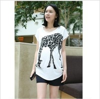 Free shipping High quality  2013 new type white 95%cotton Animal pattern t-shirt comfortable maternity t-shirt