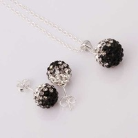 Free Shipping 925 Silver Jewelry Set Disco Ball Beads Cute Crystal Shamballa Sets Fasion Sterling Necklace Earring SBS056