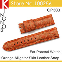 Fashion Orange Real Alligator Skin Genuine Leather Watch Band 24mm Watch Strap For Panerai Free Shipping
