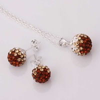 Free Shipping 925 Silver Jewelry Set Disco Ball Beads Cute Crystal Shamballa Sets Fasion Sterling Necklace Earring SBS057