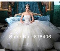 Free shipping 2013 wedding tube top wedding dress lace strap princess wedding dress white